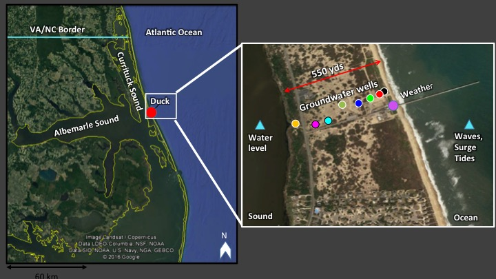 (Left) Map of the northeastern coast of North Carolina where we are studying flooding (red circle near Duck, NC). (Right) Zoomed-in aerial view of the study area at the FRF showing our array of groundwater wells (colored circles spanning the barrier island), as well as the observations being collected by the facility (including waves, surge, water levels, and rainfall and wind).
